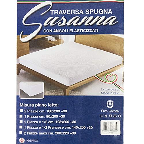 R.P. Cubrecolchón Elite Maxi con esquinas de rizo 100% algodón travesaño cama Made in Italy Medidas estándar y medidas especiales extra - h. Ángulo de 30 cm para cama de matrimonio de 2 plazas.