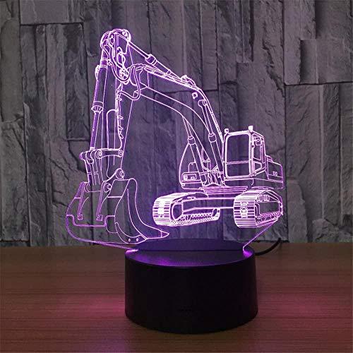 Excavator 3D-Lampe Illusion Kinder-Lampen Nachttisch Schlafzimmer Zubehör für Teenager Jungen 16 Farben wechselnde Modellierung Baby Schlafzubehör visuelle Anime USB Tischlampe für Heimdekoration