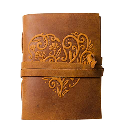 Leather Journal for Women - 240 Pages Kraft Paper Beautiful Embossed Heart Cover Handmade Leather Bound Journal Notebook - 8 x 6 Inches (8' x 6' - Lined)