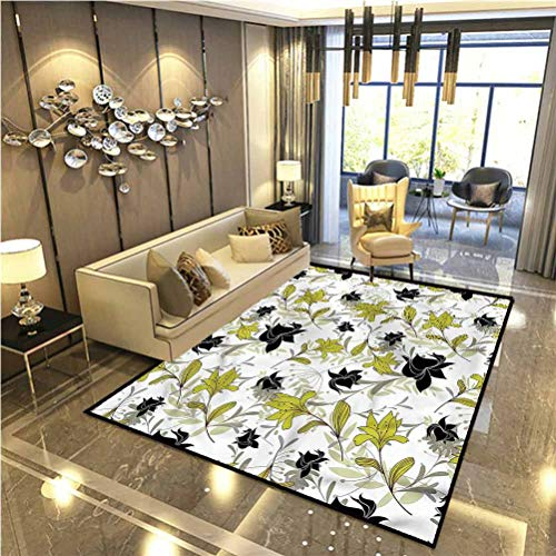 Floral Rugs for Inside House Exotic Plants with Flowers for Children Bedroom Home Decor Nursery Rug 6 x 7 Ft