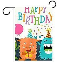 ガーデンヤードフラッグ両面 /12x18in/ ポリエステルウェルカムハウス旗バナー,お誕生日おめでとうモンスター