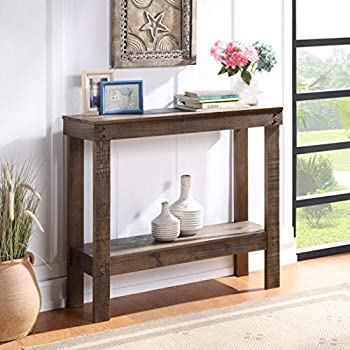 Console Table 2 Tier for Entryway Farmhouse Rustic Entryway Table Narrow Long with Bottom Shelf for Hallway Foyer Living Room 2 Shelf Solid Wood Dark Brown
