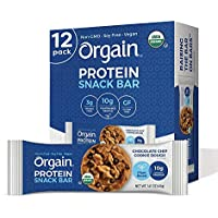 12-Count Orgain Organic Plant Based Protein Bar, Chocolate Chip Cookie Dough
