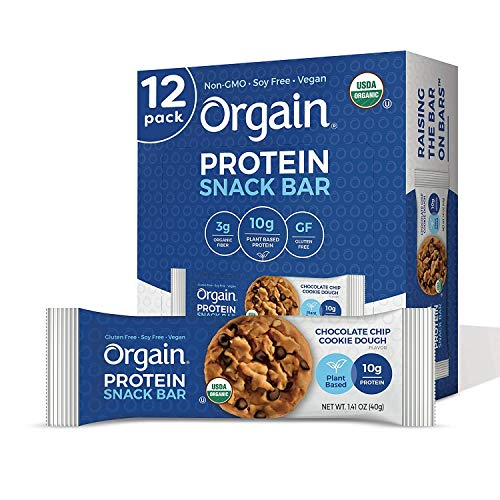 Orgain Organic Plant Based Protein Bar Chocolate Chip Cookie Dough  Vegan Gluten Free Non Dairy Soy Free Lactose Free Kosher NonGMO 141 Ounce 12 Count Packaging May Vary