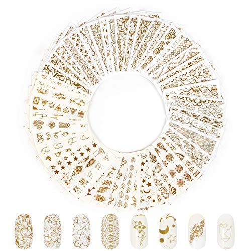 Jubaopen 40pcs Adesivi per Nail Art Unghie Decalcomania Nail Stickers Decorazione Fai da Te Trasferimento ad Acqua Fiore Fogli Filigrana Oro Design Water Decals Nails per Ragazza Donna