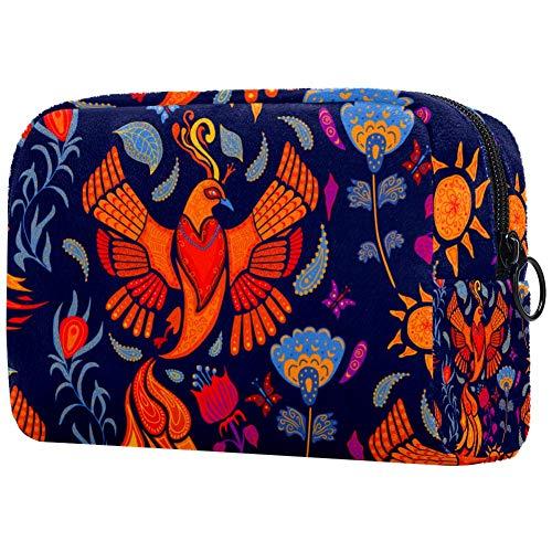 Beau Firebird et fleurs bleues sacs de maquillage portables pour femmes