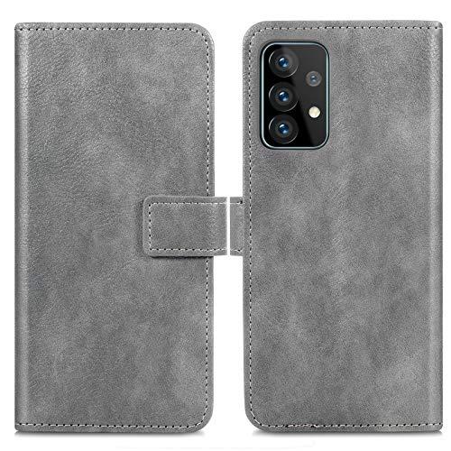 iMoshion kompatibel mit Samsung Galaxy A52 (5G) Hülle – Luxuriöse Handyhülle – Handytasche in Grau [Mit Ständer, Platz für 3 Karten, Magnetverschluss]
