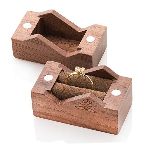 Caja de madera para anillos de compromiso | Caja para anillos pequeña hecha a mano - rectangular
