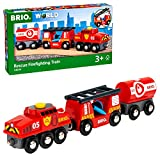 Brio World - 33844 - Train des pompiers - Sans pile - Système d'attache aimantée - Pour circuit de train en bois - Jouet pour garçons et filles dès 3 ans