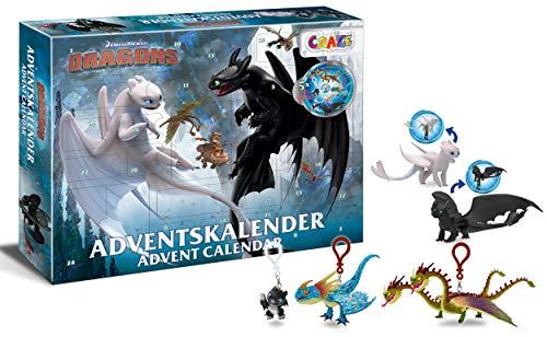 CRAZE 24645 Premium Advent Calendario dell'Avvento 2020 Dragons 3 sorprese e Giochi a Tema Dragon Trainer 3, Colore Colorful