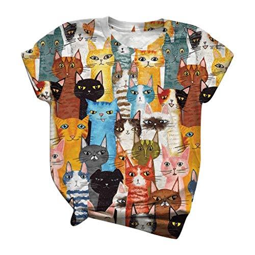 Masrin Damen Tops Fashion Kurzarm 3D-bedrucktes T-Shirt Plus Size O-Neck Loose Tee Bluse(XXXXXL,Mehrfarbig)
