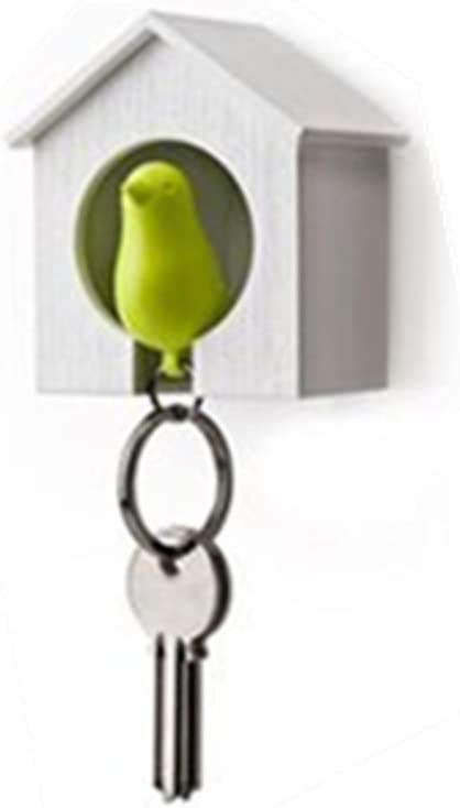 AKOAK Bargain sale White Mini Birdhouse and Green Keychain Bird Saf a is Be super welcome