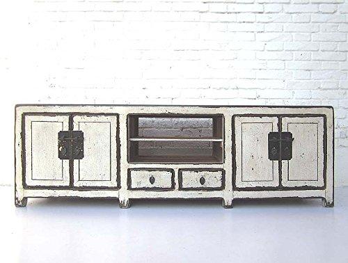 Mueble aparador China plana para televisores de pino lacada en blanco accesorios de metal de Luxury Park