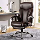 BERLMAN Ergonomic Recliner PU Leather High Back Office Chair Managerial Chair Executive Chair Desk Chair Computer Chairwith Footrest (Brown)