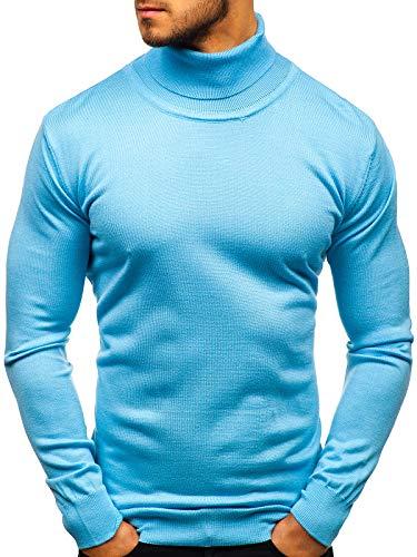 BOLF Herren Pullover Rundhalsausschnitt Strickpullover Pulli Basic Einfarbig Casual Style RWX 2400 Hellblau L [5E5]