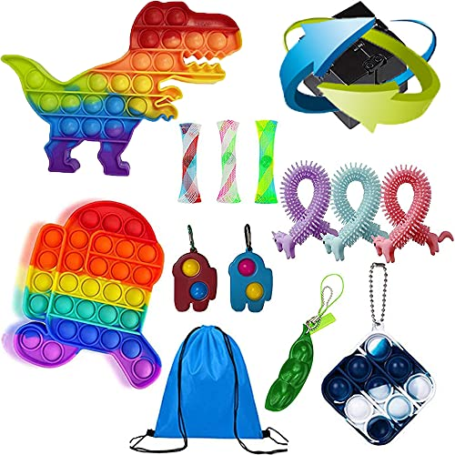 Hoqque Fidget Toy Set Box Anti Stress Spielzeug Cube Simple Dimple Dinosaurier Bubble Sensory Pack Spiel WüRfel Erbsen Regenbogen Bunt Rainbow Monkey Noodles Erwachsene PEA Geschenk