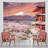 Tapiz Japonés Colgante de Pared Tapiz Asiático de Montaña Fuji Decoración de Pared de Pagoda de Japón con Flor de Cerezo Arte de Naturaleza para Sala de Estar (59,1 x 51,2 Pulgadas)