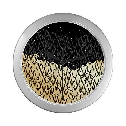 JOCHUAN Antike runde Wanduhr Japanische traditionelle gemalte Webuhr Wanduhr 9,65 Zoll Silber Quarzrahmen Dekor für Büro/Schule/Küche/Wohnzimmer/Schlafzimmer
