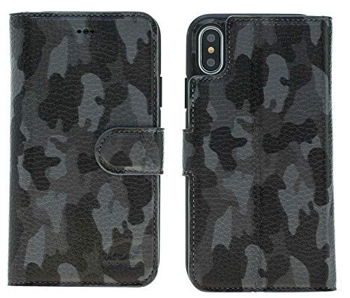 Solo Pelle Iphone X abnehmbare Lederhülle (2in1) inkl. Kartenfächer für das original Iphone X in Camouflage Grau - 3