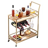 JBBCN Bar Cart for The Home, Bar Serving Cart on Wheels with Wine Rack and Glass Holder, Kitchen Living Room Storage Cart, Wood& Metal Material, Golden Finish (28.43' L x 12.68' W x 35.7' H)