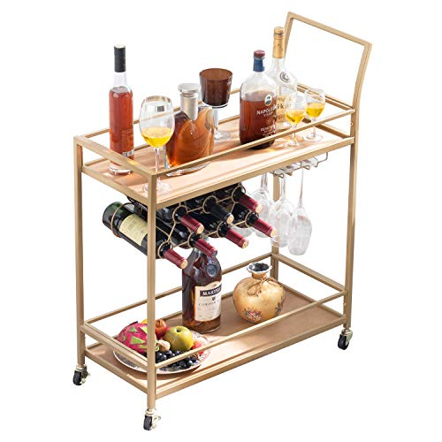 JBBCN Bar Cart for The Home, Bar Serving Cart on Wheels with Wine Rack and Glass Holder, Kitchen Living Room Storage Cart, Wood& Metal Material, Golden Finish (28.43