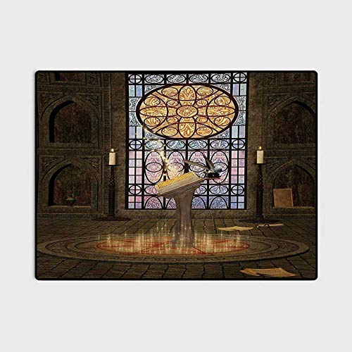 Gothic Children Play Princess Room Decor Rug Lectern on Pentagram Symbol Medieval Architecture Candlelight in Dark Altar Carpets for bedrooms Olive Green Mustard 4 x 6 Ft