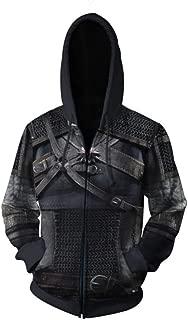 Men's Black Hoodie Sweatshirt Hot Game Cosplay Jacket Hooded Wind Coat