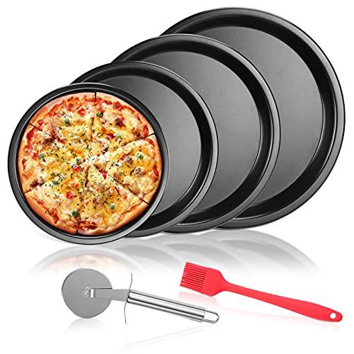 Aokyom® Plateau à Pizza,Lot de 4 Moule à Pizza avec Roulette de Coupe à Pizza e Brosse à Huile Plaques Rondes de Pizza Antiadhésif en Acier au Carbon,Pizza Baking Pan Diamètre 28-25-23-20cm pour Four