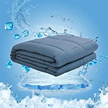 Dornroscn Cooling Bamboo Weighted Blanket with 100% Pure Natural Bamboo Viscose | 15lbs-48''x72''-Twin size bed for Adults | Cooling Heavy Blanket Premium Glass Bead for Hot & Cold Sleepers, Navy Blue