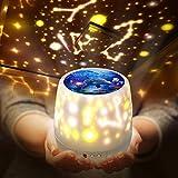 Shayson 赤ちゃん おもちゃ プラネタリウム 家庭用 5 in 1 寝かしつけ スタープロジェクターライト ベッドサイドライト USB/電池兼用 360°回転 多色変更可能 3段階輝度 5投影モード クリスマスプレゼント おもちゃ 女の子(ホワイト)