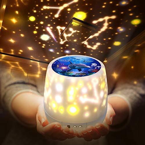 Shayson 赤ちゃん おもちゃ プラネタリウム 家庭用 5 in 1 寝かしつけ スタープロジェクターライト ベッドサイドライト USB/電池兼用 360°回転 多色変更可能 3段階輝度 5投影モード 誕生日 プレゼント おもちゃ 女の子(ホワイト)