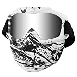 Casco de motocicleta con gafas extraíbles, lentes antivaho, filtro en la boca, correa antideslizante ajustable, estilo vintage