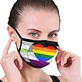 Agender Asexual Homoromantic Pride Flag Unisex Face Mask to Prevent The Fog and Anti-Dust Black