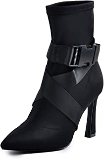 Women Black Suede High Heel Ankle Boots Pointed Toe Plush Decoration