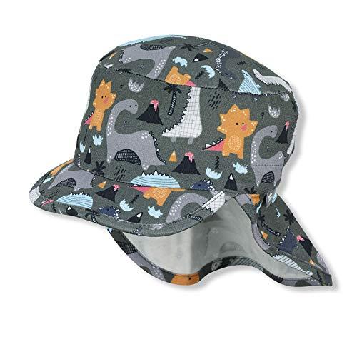 Sterntaler Baby-Jungen m 1612141 Schirmmütze mit Nackenschutz, dunkelgrün, 45