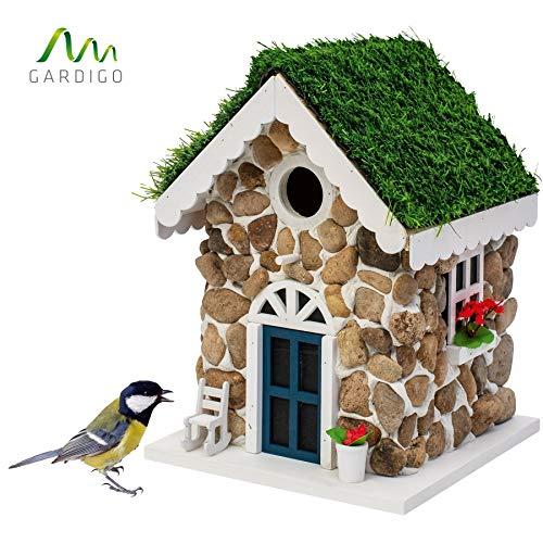 Gardigo Steinhaus Nistkasten | Dekoratives Vogelhaus zum aufhängen | Vogelhäuschen für Garten, Balkon, Terrasse