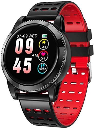 hwbq Pulsera inteligente de 1,3 pulgadas con podómetro impermeable IP67 ritmo cardíaco monitor de salud remoto cámara inteligente reloj rojo