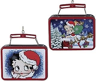 Kurt Adler Betty Boop Winter Scene Miniature Tin Lunch Box Double Sided Christmas Ornament