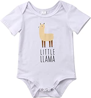 Specialcal Newborn Baby Boys Girls Little Llama Print Short Sleeve Bodysuit Romper