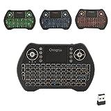 Ovegna MT10: Mini teclado inalámbrico retroiluminado, QWERTY Español, inalámbrico con touchpad, para Smart TV, Mini PC, HTPC, Console, Ordenador, Raspberry 2/3, Android TV