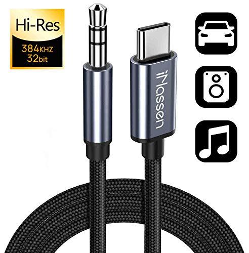 USB C Klinke Aux Kabel, iNassen USB C auf 3,5 mm Aux Kopfhörer Autokabel 1m für Auto-Lautsprecher, Heim-Audiosysteme und Kopfhöreranschluss mit DAC-Chip, mit iPad Pro, Samsung S20 / S20+, Huawei