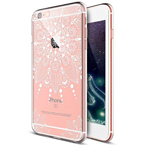 Kompatibel mit iPhone 8 Hülle,iPhone 7 Hülle,Weiße Henna Mandala Blumen Spitze Paisley Indische Sonne TPU Silikon Handy Hülle Tasche Durchsichtig Handyhülle Schutzhülle für iPhone 8 / iPhone 7,#2