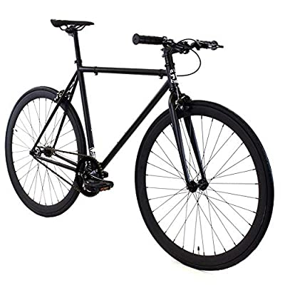 Golden Cycles Single Speed Fixed Gear Bike with Front & Rear Brakes (Vader, 52)