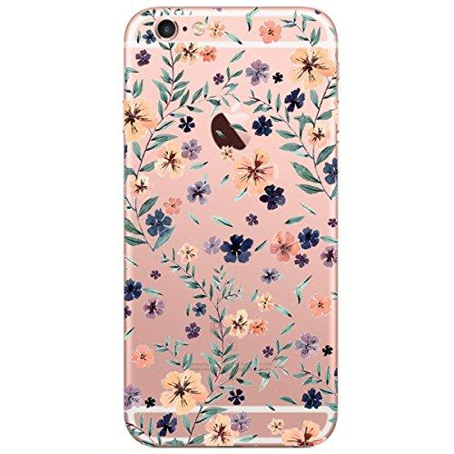Alsoar Compatibile Sostituzione per iPhone 6   6S 4.7  Custodia TPU Cute Animal Case Transparente Silicone Cover TPU Gel Protettivo Anti-Scratch Skin Case Protettivo Skin Shell (Fiore)