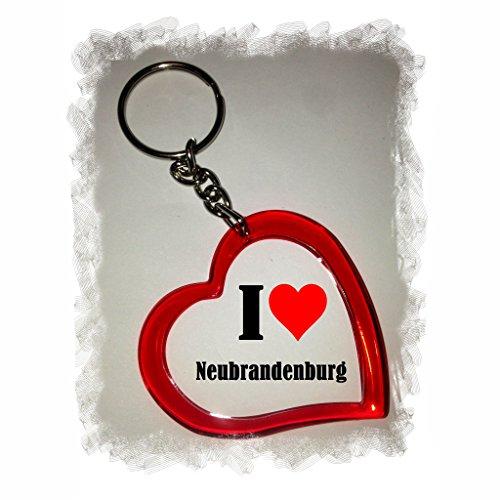 Druckerlebnis24 Herz Schlüsselanhänger I Love Neubrandenburg - Exclusiver Geschenktipp zu Weihnachten Jahrestag Geburtstag Lieblingsmensch