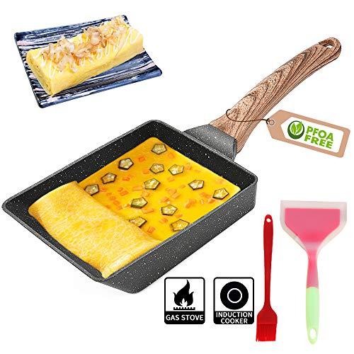 Padella giapponese per omelette – Padella antiaderente Tamagoyaki Pan Giapponese, con spatola in silicone e pennello, sicura e priva di PFOA
