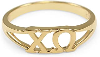 Chi Omega 14k Gold Plated Sorority Ring with Greek Letters