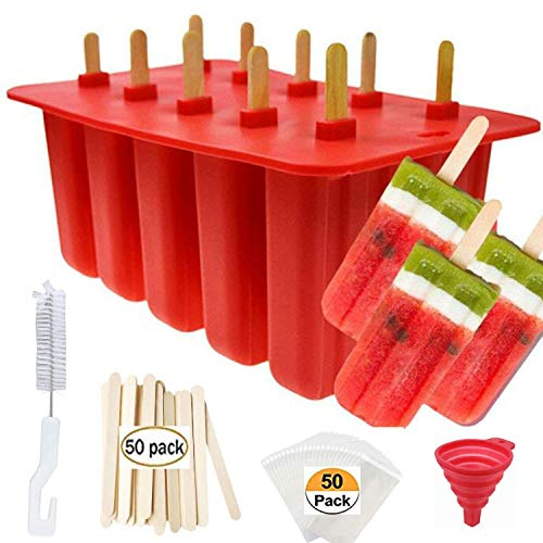 Popsicle Molds Shape Maker,10pcs Homemade ICE Pop Molds Shapes Food Grade Silicone BPA-Free, with 50 Popsicle Sticks 50 Popsicle Bags Silicone Funnel,Cleaning Brush(Red)