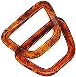 POFET 2 uds., Asas en forma de acrílico en forma de D, reemplazo para bolsos hechos a mano, bolso, asa, marco encantador, lona, ??bolso de compras