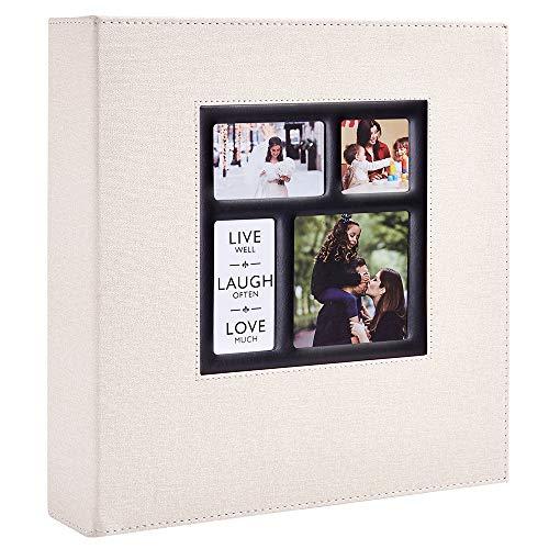 Benjia - Álbum de fotos (600 fundas, 10 x 15 cm, tamaño grande, para familias, bodas, clásicos, cubierta de lino, 60 hojas, 120 Pages, Beige)